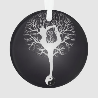 Yoga Tree in Black and White Ornament