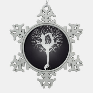 Yoga Tree in Black and White Snowflake Pewter Christmas Ornament