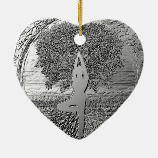 Yoga Tree of Life in Chrome Ceramic Heart Decoration