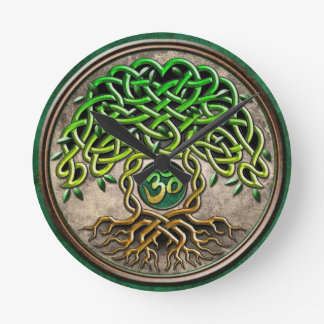 Yoga Tree of Life Round Clock
