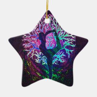 Yoga Tree Peace Rainbow Christmas Ornament