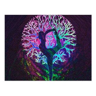 Yoga Tree Peace Rainbow Postcard