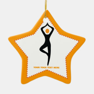 Yoga tree pose black, orange custom christmas ornament