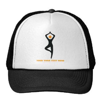 Yoga tree pose black, orange custom mesh hats