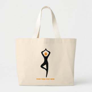 Yoga tree pose black, orange custom large tote bag