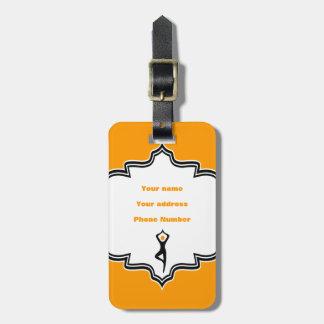 Yoga tree pose black, orange custom luggage tag