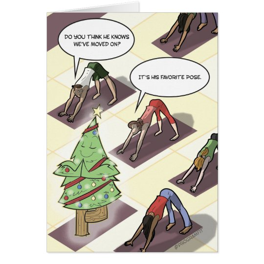 Yoga Tree Pose Holiday Card