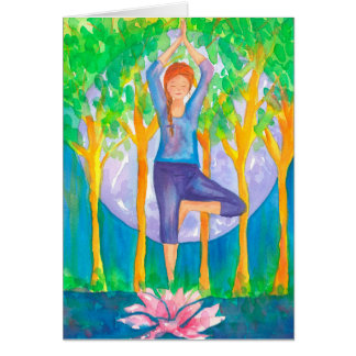 Yoga Tree Pose Woman Happy Birthday Card