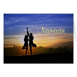 Yoga Tree Position Happy Birthday Namaste Card