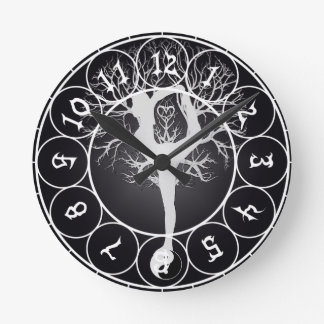 Yoga Tree Round Clock