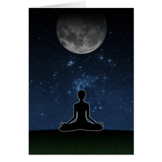 Yoga Under The Moon Greeting Card