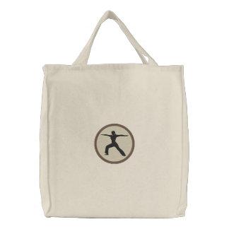 Yoga Warrior Pose Embroidered Bag