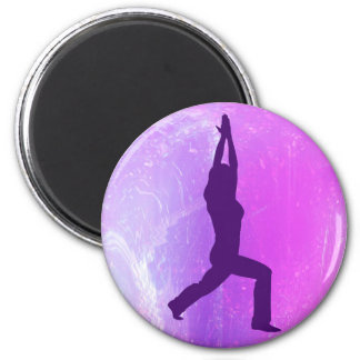 Yoga Warrior Pose Giftware 6 Cm Round Magnet