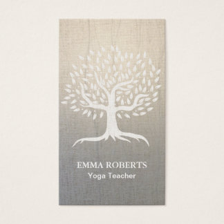 Yoga & Wellness Vintage Tree Elegant Zen Linen Business Card