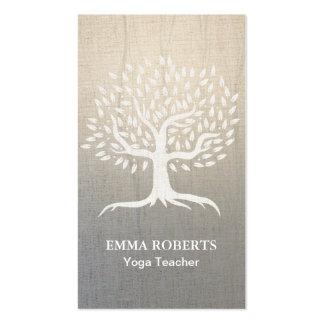 Yoga & Wellness Vintage Tree Elegant Zen Linen Pack Of Standard Business Cards