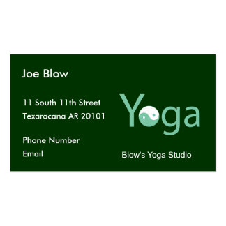 Yoga with Yin Yang in green Pack Of Standard Business Cards