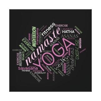 Yoga Word Cloud Plum/Green ID254 Gallery Wrap Canvas