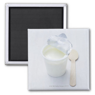 Yoghurt in opened disposable cup square magnet