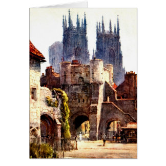 Yok Minster Bootham Bar Entrance Color Cathedral Greeting Card