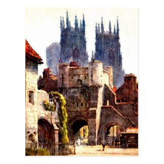 Yok Minster Bootham Bar Entrance Color Cathedral Postcard
