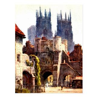 Yok Minster Bootham Bar Entrance Color Cathedral Postcard