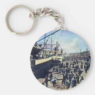 Yokohama Harbor Japan Vintage Shipping 横浜港 Basic Round Button Key Ring