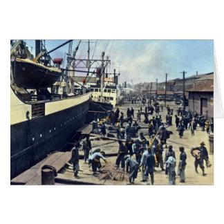 Yokohama Harbor Japan Vintage Shipping 横浜港 Greeting Card