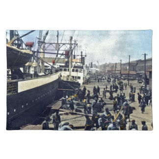 Yokohama Harbor Japan Vintage Shipping 横浜港 Placemats