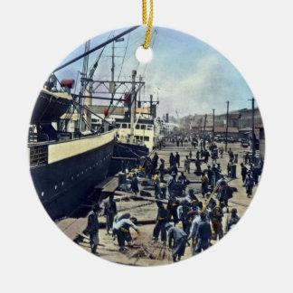 Yokohama Harbor Japan Vintage Shipping 横浜港 Round Ceramic Decoration