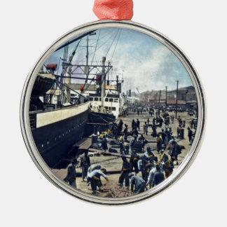 Yokohama Harbor Japan Vintage Shipping 横浜港 Silver-Colored Round Decoration
