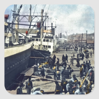 Yokohama Harbor Japan Vintage Shipping 横浜港 Square Sticker