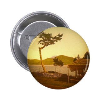 Yokohama Japan Park Vintage Mountains Pinback Button