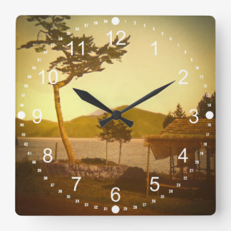 Yokohama Japan Park Vintage Mountains Square Wallclock