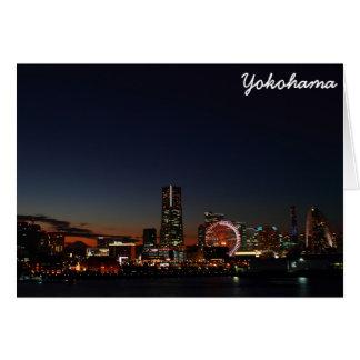 Yokohama, Japan skyline night Greeting Card