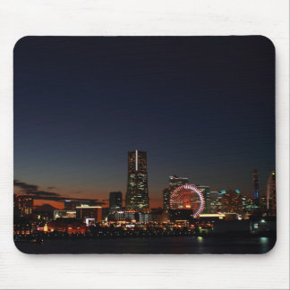 Yokohama, Japan skyline night Mousepads