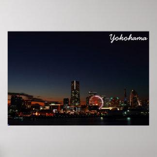 Yokohama, Japan skyline night Poster