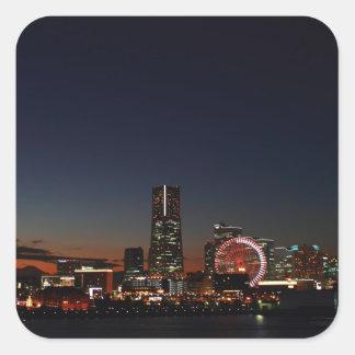 Yokohama, Japan skyline night Square Sticker