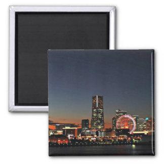 Yokohama Skyline at Night Square Magnet