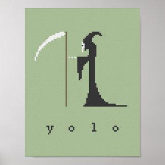 yolo Grim Reaper Pixel Art Poster