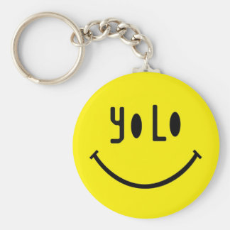 Yolo Smiley Face Basic Round Button Key Ring