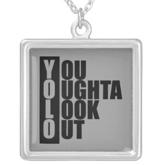 YOLO Vertical Box Silver Plated Necklace