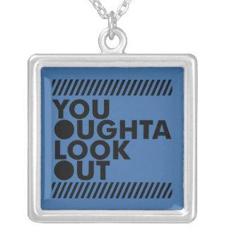 YOLO w/ Caution Square Pendant Necklace