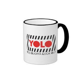 YOLO w/ Red Caution Ringer Mug