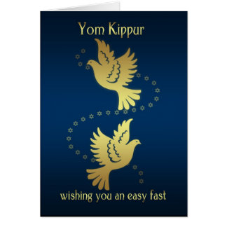 Yom Kippur - Gold Effect Doves Greeting Card