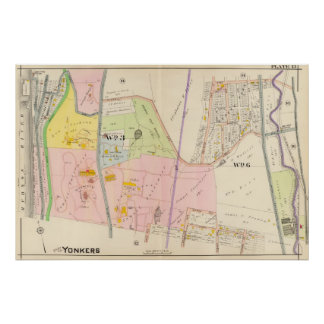 Yonkers New York Atlas Map Poster