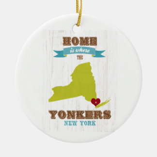 Yonkers, New York Map – Home Is Where The Heart Is Round Ceramic Decoration