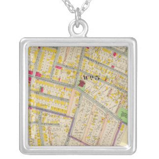 Yonkers New York Map Silver Plated Necklace