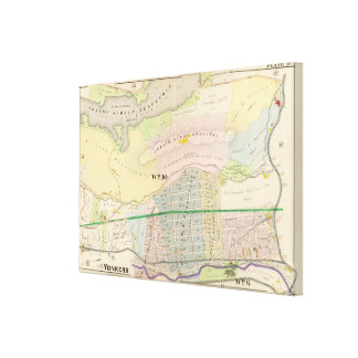 Yonkers NY Atlas Map Canvas Print