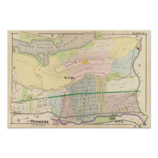 Yonkers NY Atlas Map Poster