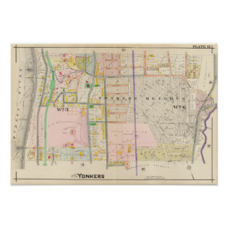Yonkers NY Map Atlas Poster